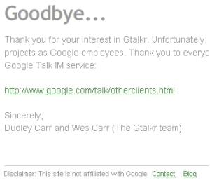 Goodbye Gtalkr