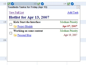 Toodledo on Gcal