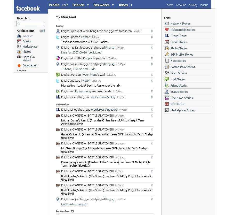 facebook minifeed