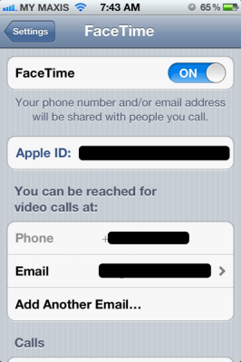 apple id for facetime 266x400 Using multiple apple id on iOS 5